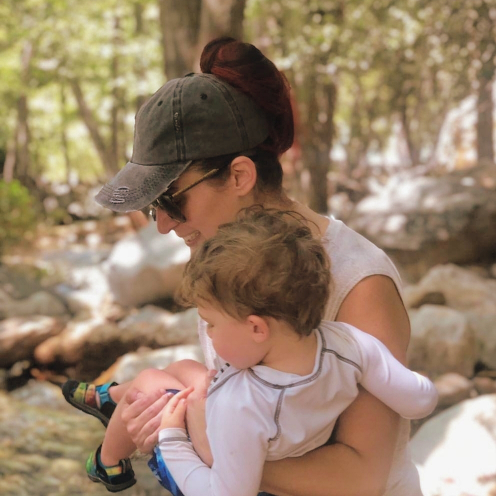 luke and mama in river